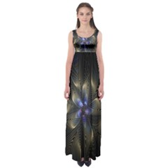 Fractal Blue Abstract Fractal Art Empire Waist Maxi Dress by Nexatart