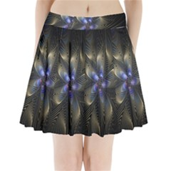 Fractal Blue Abstract Fractal Art Pleated Mini Skirt