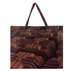 Fractal 3d Render Futuristic Zipper Large Tote Bag by Nexatart