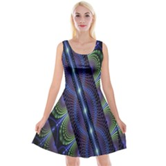 Fractal Blue Lines Colorful Reversible Velvet Sleeveless Dress by Nexatart