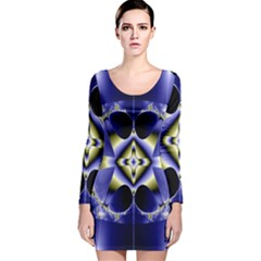 Fractal Fantasy Blue Beauty Long Sleeve Velvet Bodycon Dress by Nexatart