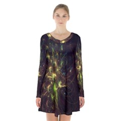 Fractal Flame Light Energy Long Sleeve Velvet V Neck Dress by Nexatart