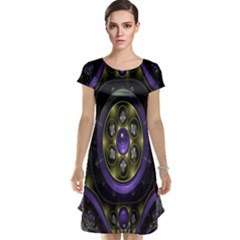 Fractal Sparkling Purple Abstract Cap Sleeve Nightdress