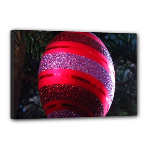 Glass Ball Decorated Beautiful Red Canvas 18  X 12