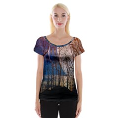 Full Moon Forest Night Darkness Women s Cap Sleeve Top