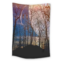 Full Moon Forest Night Darkness Large Tapestry