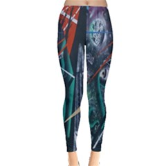 Graffiti Art Urban Design Paint Leggings  by Nexatart