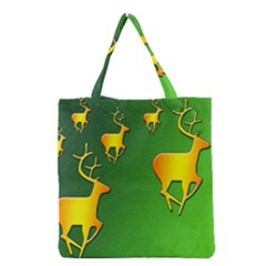Gold Reindeer Grocery Tote Bag by Nexatart