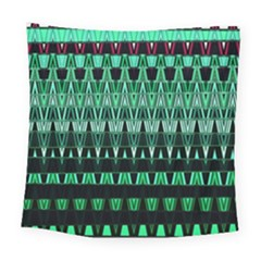 Green Triangle Patterns Square Tapestry (large)