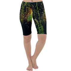 Green Leaves Psychedelic Paint Cropped Leggings  by Nexatart
