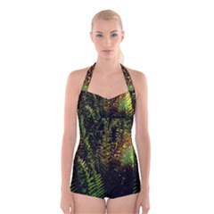 Green Leaves Psychedelic Paint Boyleg Halter Swimsuit
