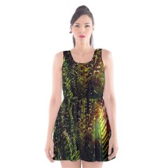 Green Leaves Psychedelic Paint Scoop Neck Skater Dress by Nexatart