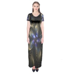 Fractal Blue Abstract Fractal Art Short Sleeve Maxi Dress