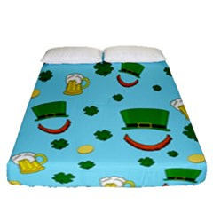 St  Patrick s Day Pattern Fitted Sheet (queen Size) by Valentinaart