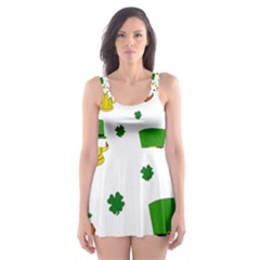 St  Patrick s Day Pattern Skater Dress Swimsuit by Valentinaart
