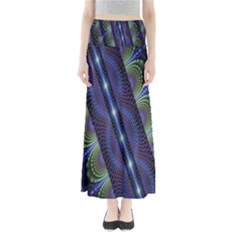 Fractal Blue Lines Colorful Maxi Skirts
