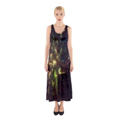 Fractal Flame Light Energy Sleeveless Maxi Dress by Nexatart