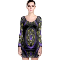 Fractal Sparkling Purple Abstract Long Sleeve Bodycon Dress by Nexatart
