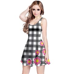Floral Plaid Pattern Reversible Sleeveless Dress by Valentinaart