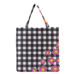 Floral Plaid Pattern Grocery Tote Bag by Valentinaart