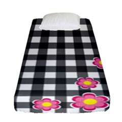 Floral Plaid Pattern Fitted Sheet (single Size) by Valentinaart