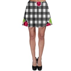 Ladybugs Plaid Pattern Skater Skirt by Valentinaart