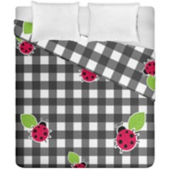 Ladybugs Plaid Pattern Duvet Cover Double Side (california King Size) by Valentinaart