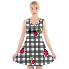 Ladybugs Plaid Pattern V Neck Sleeveless Skater Dress
