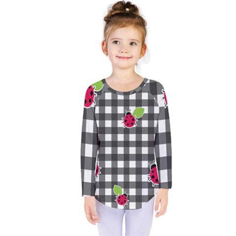 Ladybugs Plaid Pattern Kids  Long Sleeve Tee by Valentinaart