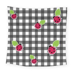 Ladybugs Plaid Pattern Square Tapestry (large) by Valentinaart