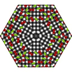 Cherries Plaid Pattern  Mini Folding Umbrellas by Valentinaart