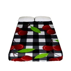 Cherries Plaid Pattern  Fitted Sheet (full/ Double Size) by Valentinaart