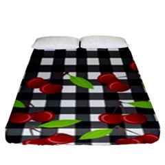 Cherries Plaid Pattern  Fitted Sheet (king Size) by Valentinaart