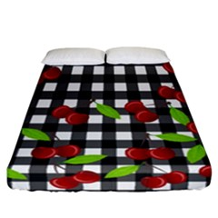 Cherries Plaid Pattern  Fitted Sheet (california King Size) by Valentinaart