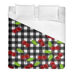Cherries Plaid Pattern  Duvet Cover (full/ Double Size) by Valentinaart