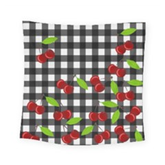 Cherries Plaid Pattern  Square Tapestry (small) by Valentinaart
