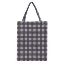 Gray Plaid Pattern Classic Tote Bag by Valentinaart