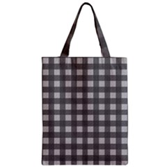 Gray Plaid Pattern Zipper Classic Tote Bag by Valentinaart