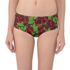 Cherry Jammy Pattern Mid Waist Bikini Bottoms by Valentinaart