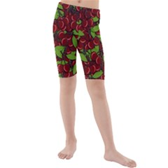 Cherry Pattern Kids  Mid Length Swim Shorts by Valentinaart