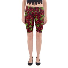 Cherry Pattern Yoga Cropped Leggings by Valentinaart
