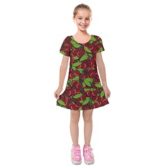 Cherry Pattern Kids  Short Sleeve Velvet Dress by Valentinaart