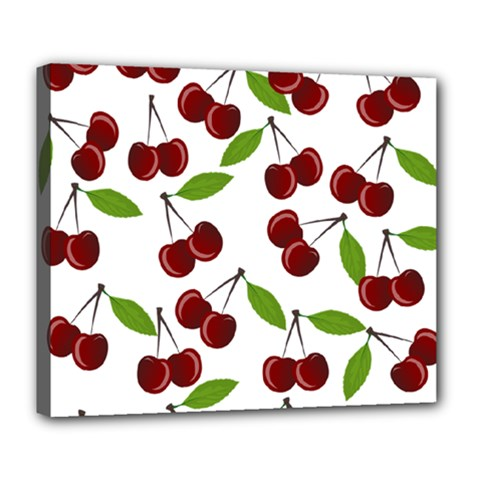 Cherry Pattern Deluxe Canvas 24  X 20   by Valentinaart