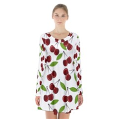 Cherry Pattern Long Sleeve Velvet V-neck Dress