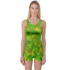 Green Autumn One Piece Boyleg Swimsuit by Valentinaart