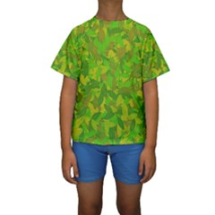 Green Autumn Kids  Short Sleeve Swimwear by Valentinaart