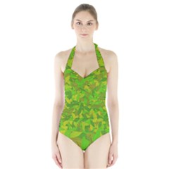 Green Autumn Halter Swimsuit by Valentinaart