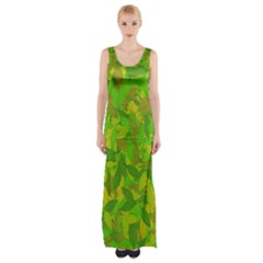 Green Autumn Maxi Thigh Split Dress by Valentinaart