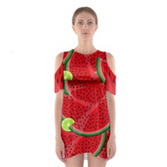 Watermelon Slices Shoulder Cutout One Piece