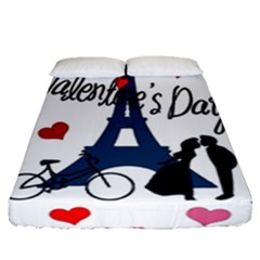 Valentine s Day - Paris Fitted Sheet (queen Size) by Valentinaart